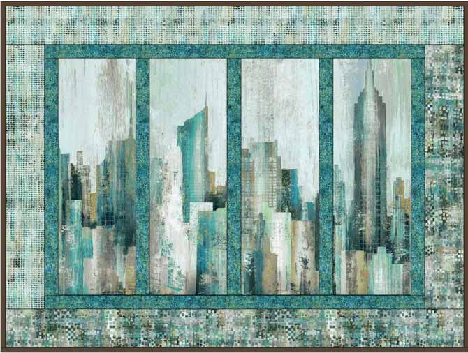 A second version of a quilt design created in EQ using Northcott's City Scene panel.