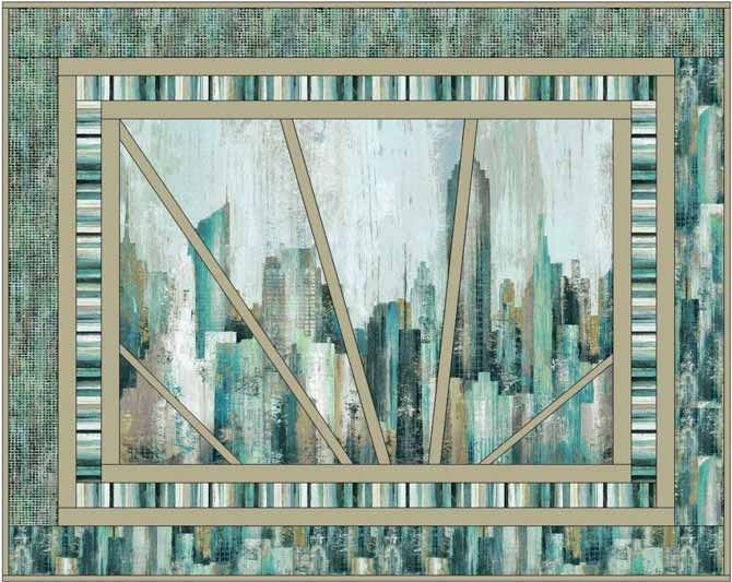 A fourth version of a quilt design created in EQ using Northcott's City Scene panel.