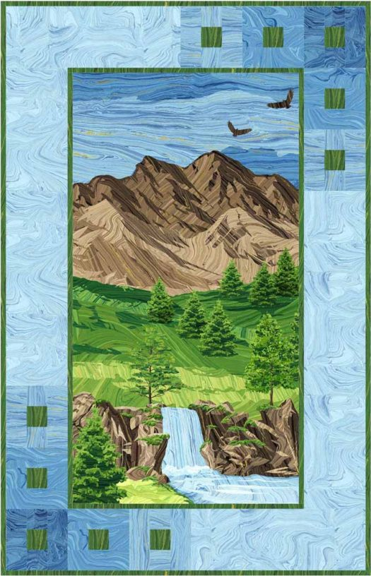"Mountain Peak panel quilt using Sandscapes fabrics by Northcott 35"" x 55"""