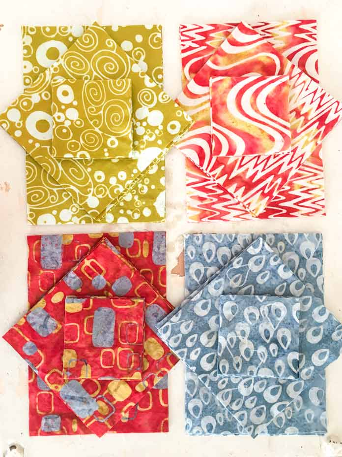 Ready, set, cut your pieces for the Mid Mod Shoofly Quilt Block