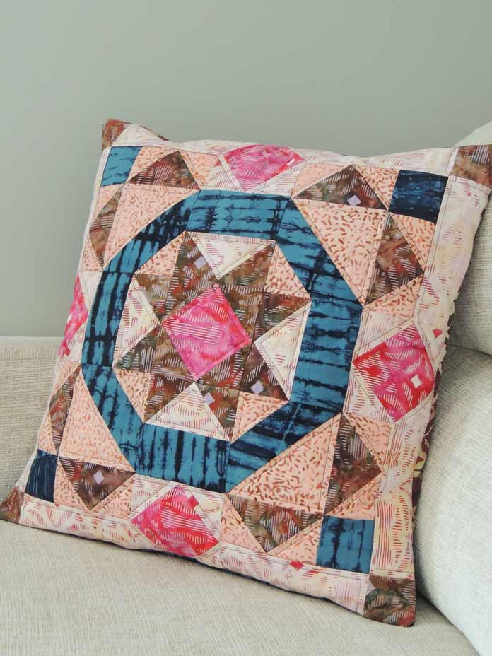 Close up of batik quilted cushion cover.