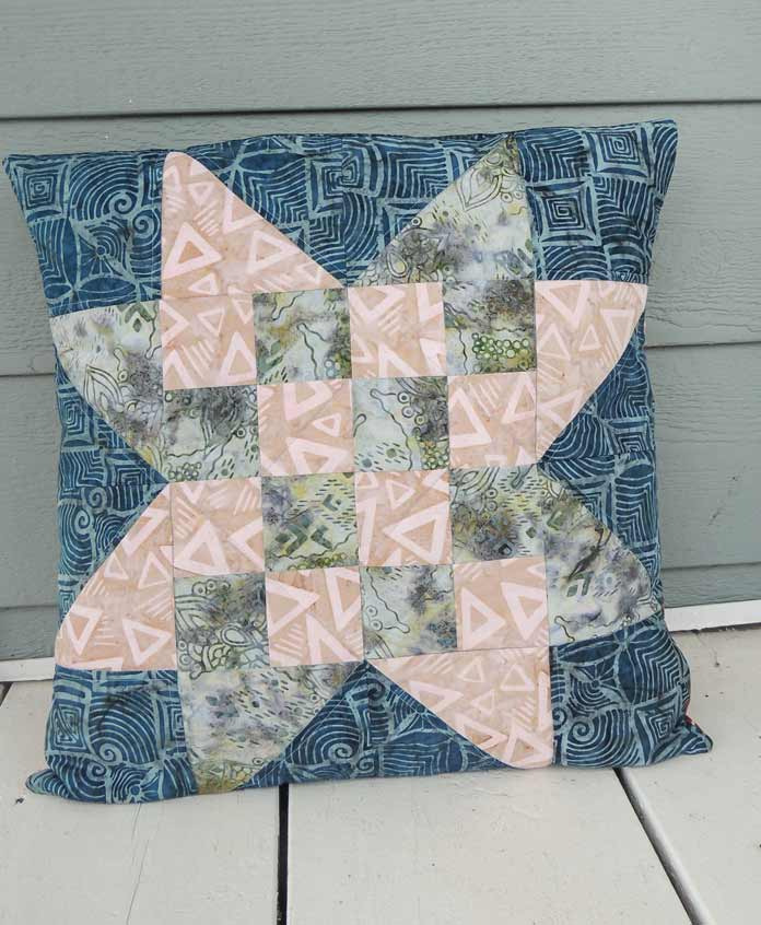 Quilted checkerboard star cushion cover