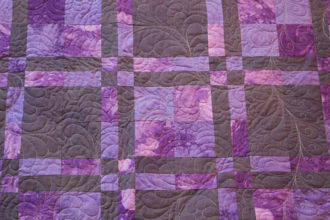 The texture shows both from the fabric dyeing with Dylon Permanent Fabric Dyes and the quilting.
