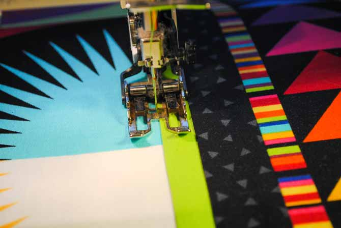 Machine quilting with a walking foot