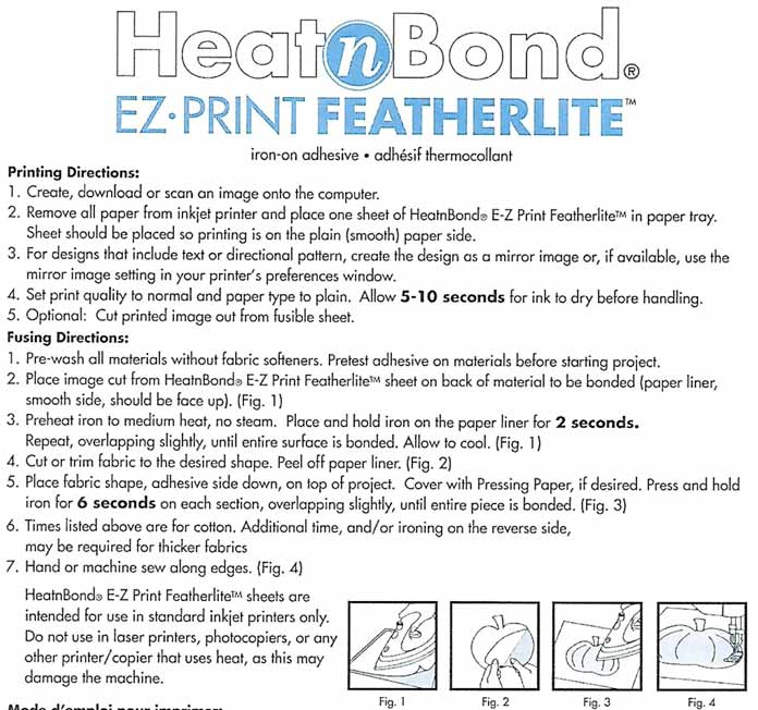 HeatnBond EZ Print Feather Lite: fusible web for your printer