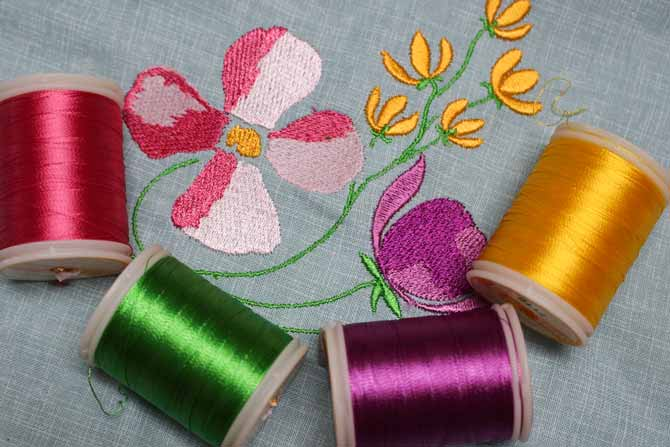 WonderFil rayon threads are great for machine embroidery.