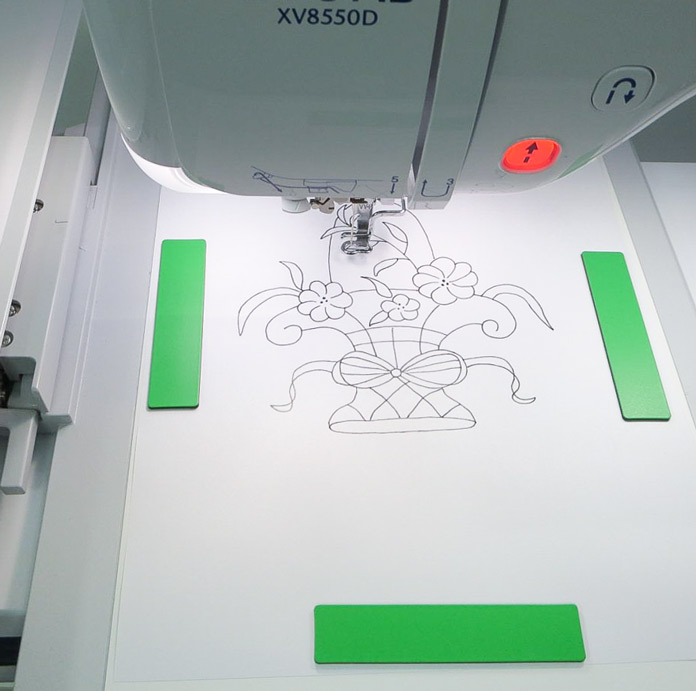 My design on the scanning frame ready to be scanned