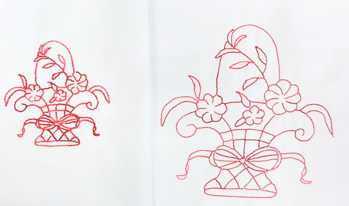 On the right is my Redwork design stitched in the original size with double-line stitch. On the left is the re-sized design with triple-stitch line.