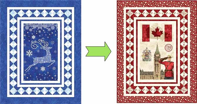 Changing the Reindeer Sparkle quilt into a Canadian Sesquicentennial quilt