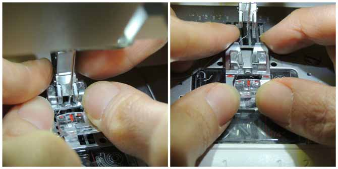 Changing the presser foot on the PFAFF passport 3.0; closeup photo of the process.