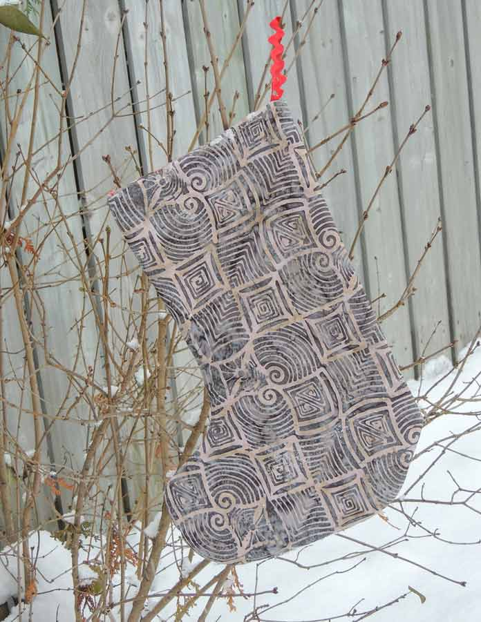 Reverse side of quilted stocking