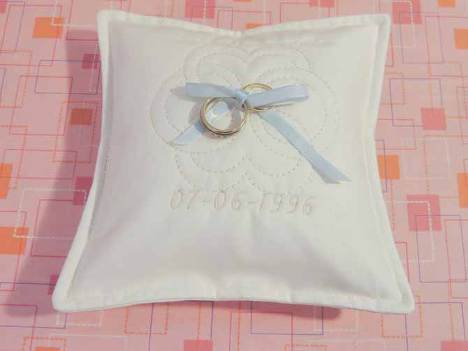 quilted ring bearer pillow