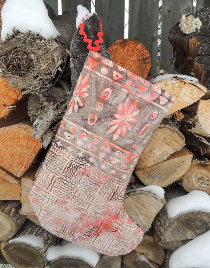 Rock City batik border print quilted stocking.