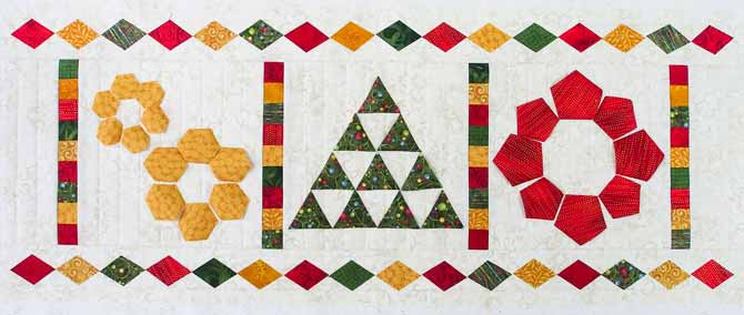 Charming Christmas table runner in red, green, gold and cream