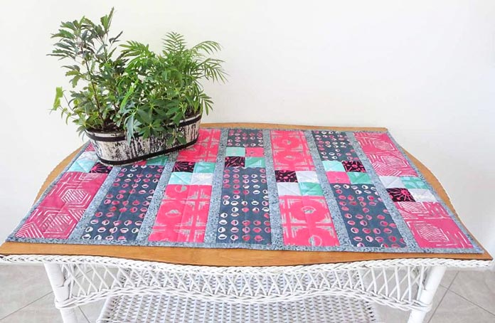 "Table runner made from ""Tie One On"" fat quarters"