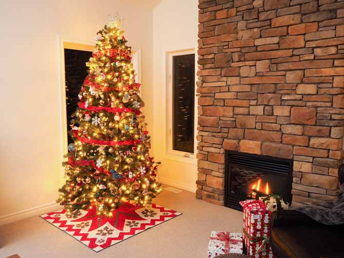 The tree skirt adds the finishing touch to this gorgeous tree