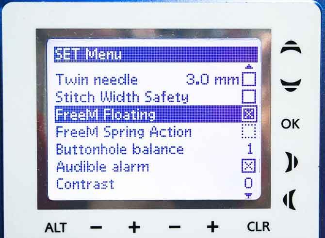 Machine set to Free Motion Floating