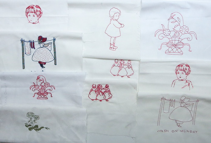 My first embroidery samples using THE Dream Machine 2. Can you tell that I like Redwork?