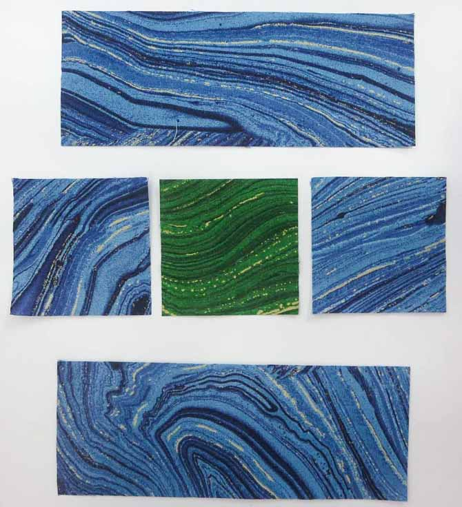 """2½"""" Sandscapes strips and squares needed to make 1 block"""