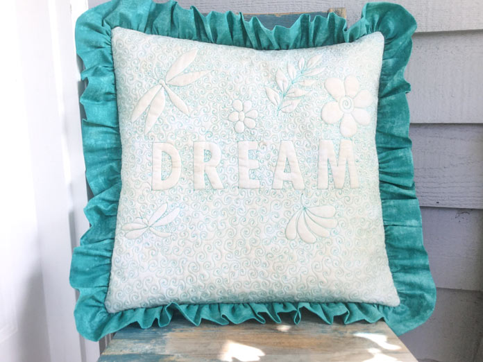 Say it with free motion quilting - designer cushion