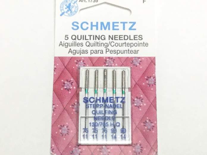 A package of SCHMETZ 75/11 Quilting needles suitable for many quilting techniques; using Sulky / Schmetz / Northcott / Gütermann / Fairfield. A thread painting and free motion quilting tutorial