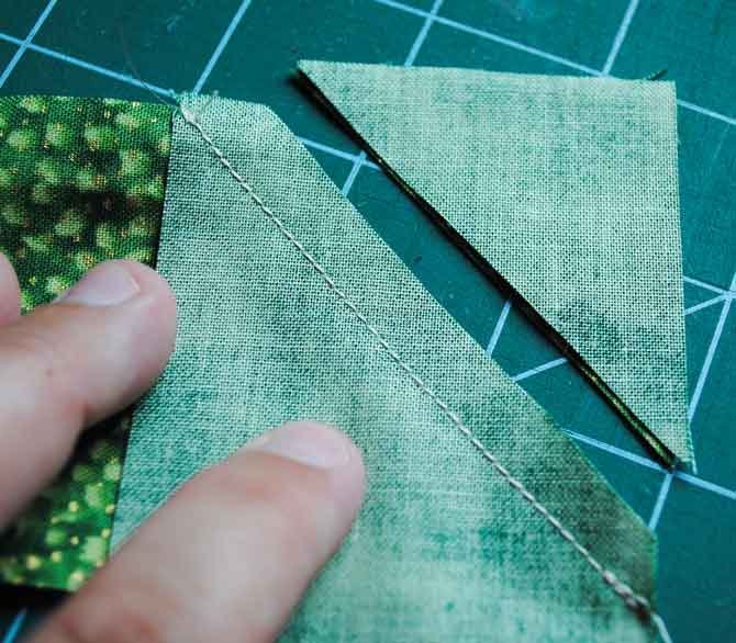 Sewing the binding strips together with a mitred join