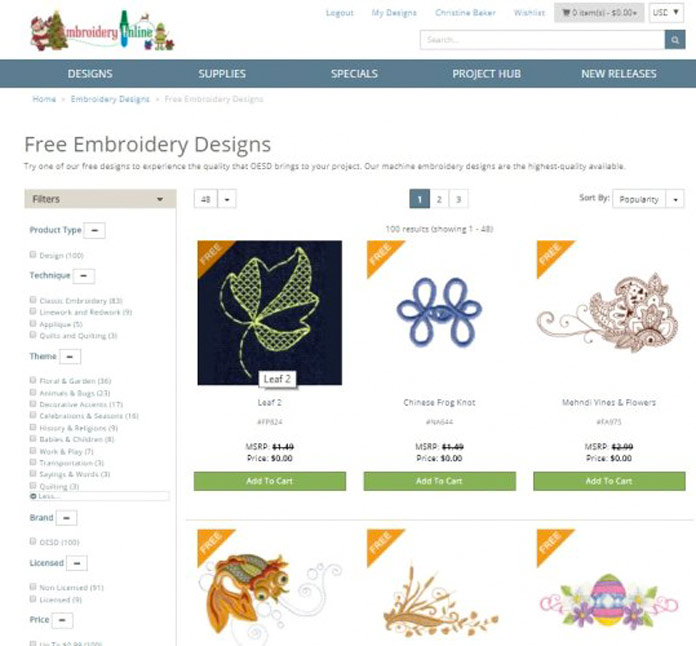 Free designs on /www.embroideryonline.com