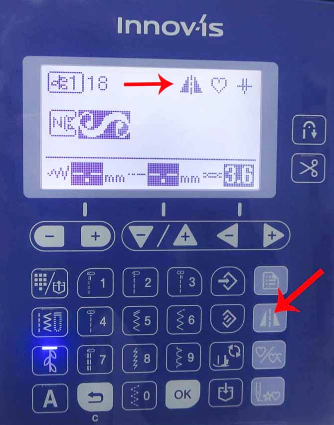 When you touch the mirror image button indicated by the arrow, you get a mirror image of the stitch design. This is also shown on the LCD screen on the Brother NQ900.