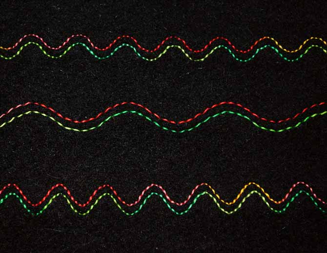 Three different versions of the serpentine stitch on the NQ900, stitched with a twin needle.