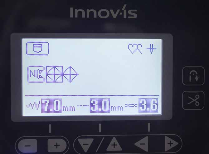 The basic machine settings for our custom stitch on the Brother NQ900.