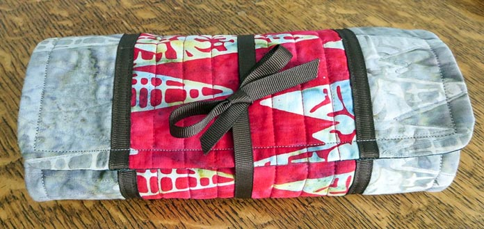 Roll & Go sewing organizer made with Banyan Batiks African Violets fabrics