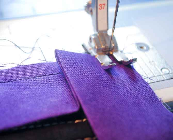 Sewing on the binding