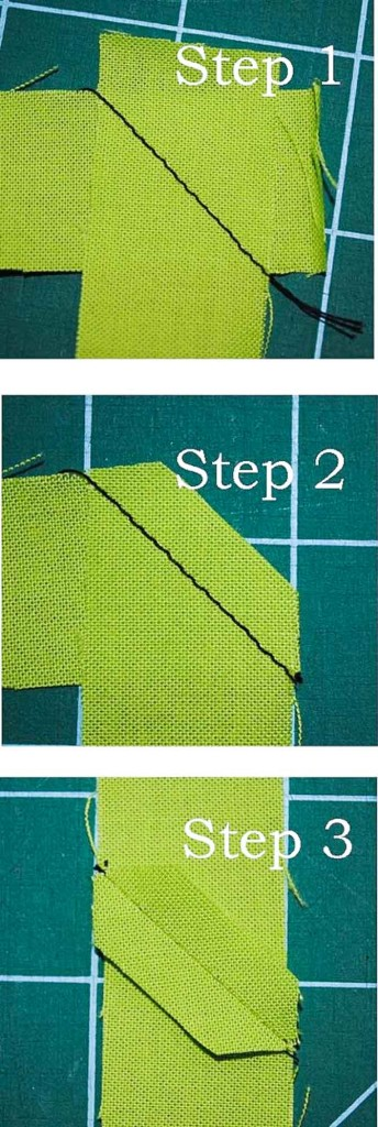 Sewing the mitered join