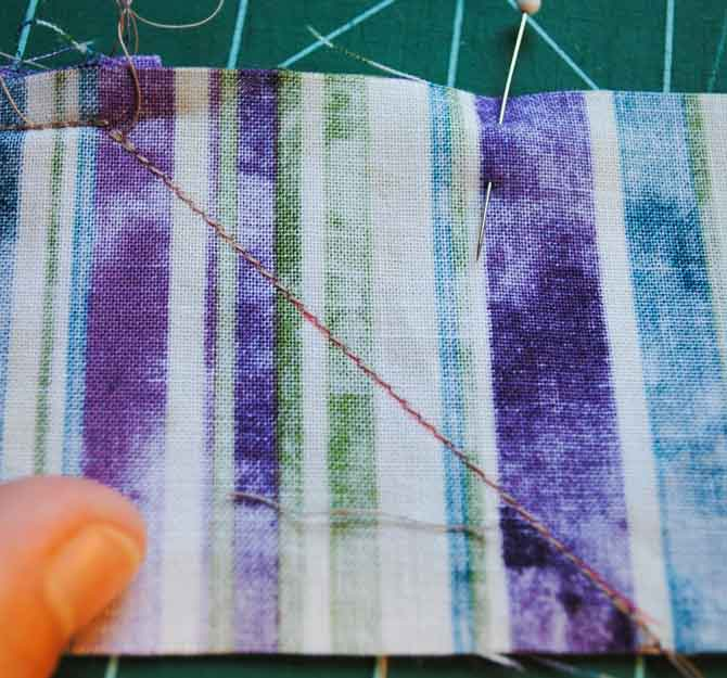Sewing the mitered seam