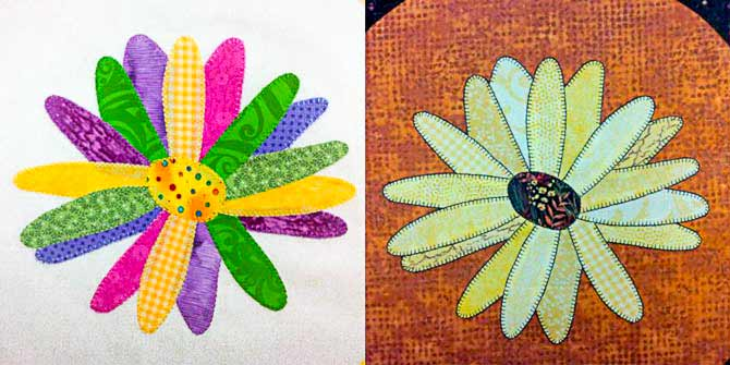 Crazy Daisies with Machine Blanket Stitch Edge Finishes