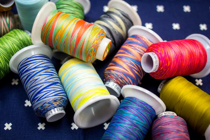 Silco a 35wt thread available on solid and variegated colors.