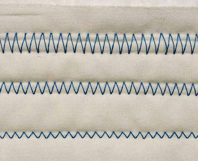 Three lines of zigzag stitch