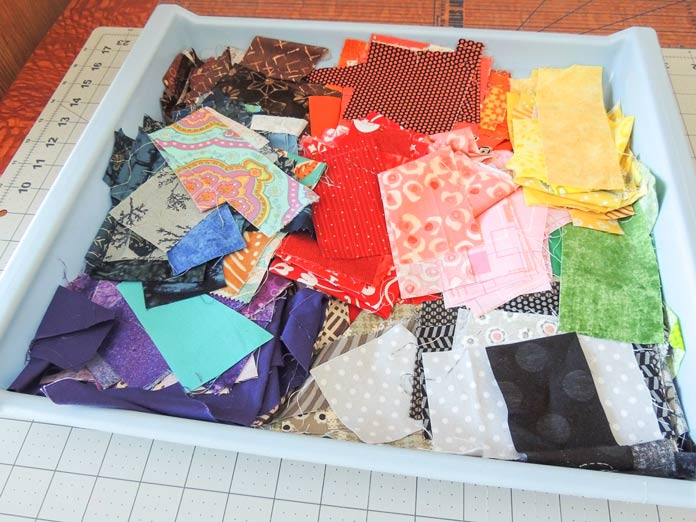 Small stash scraps sorted by color.