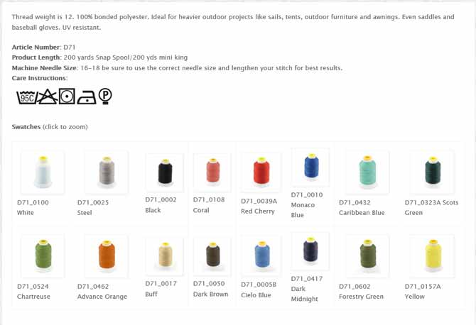 Specifications of Coats Outdoor Thread and spools in a number of colors