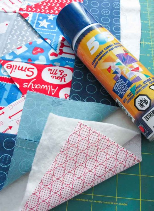 Making a quilt sandwich that's basted together with a light spray of 505.