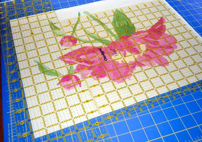 Squaring up the peony using two rulers