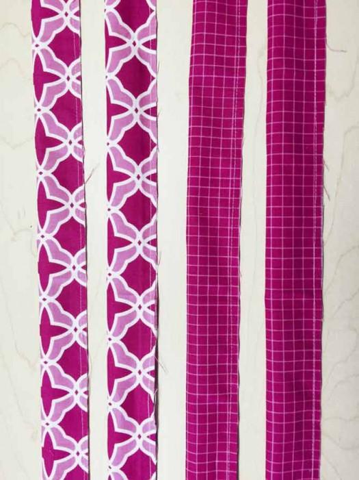 Stitch along horizontal raw edges.