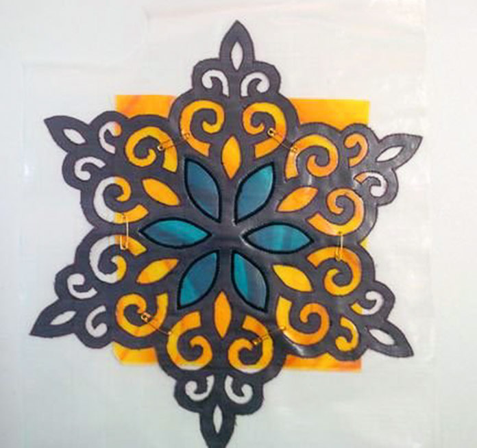 Second fabric for stained glass snowflake
