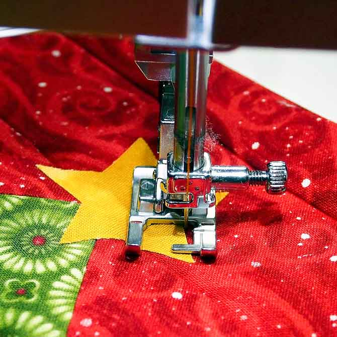 Ready for stitching with foot 1A
