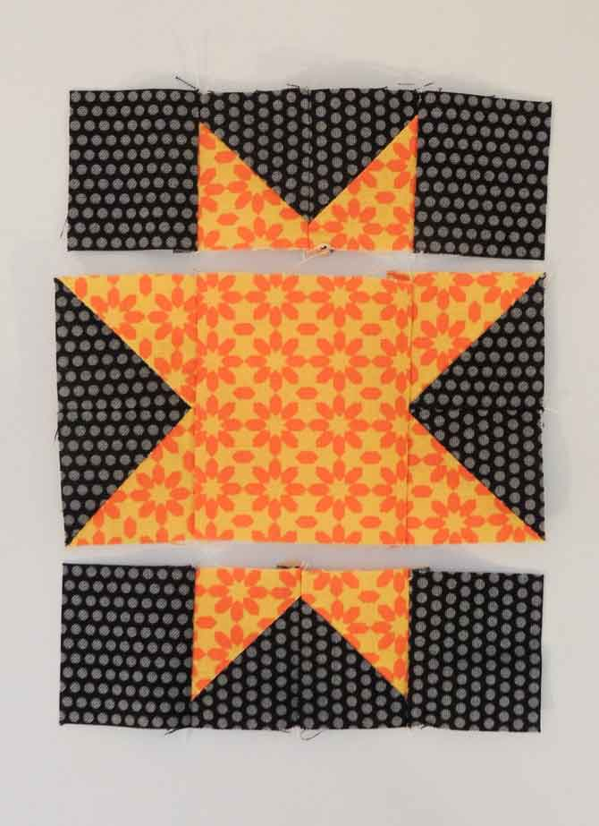 star in rows piecing in rows patchwork star