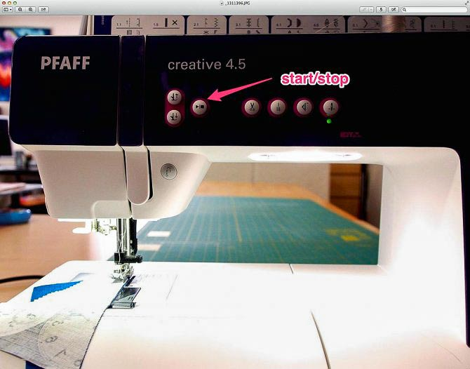 Using the start/stop button to sew