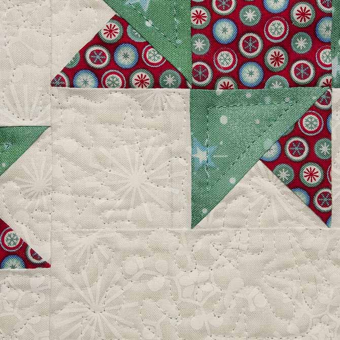 White on white free motion quilting