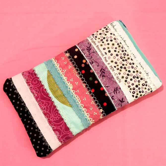 Stitched case with zipper