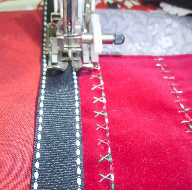 Sewing the ribbon braid over the seams using the walking foot
