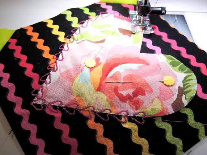 Machine stitching the decorative heart stitch
